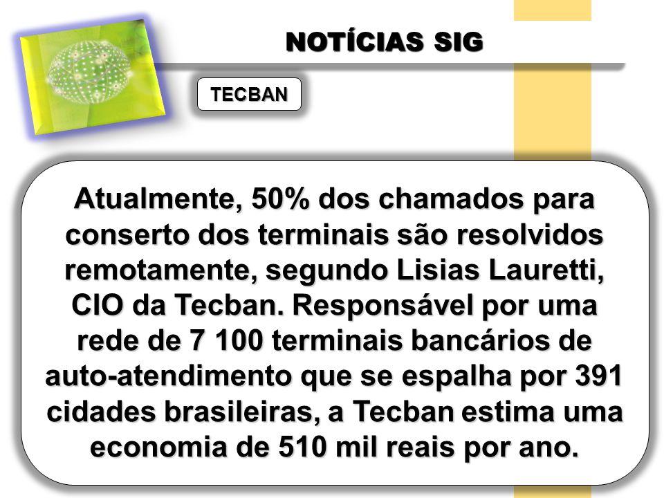 NOTÍCIAS SIG TECBAN Atualmente, 50% dos chamados para conserto dos terminais são resolvidos remotamente, segundo Lisias Lauretti, CIO da Tecban. Respo