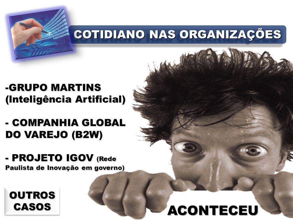 ACONTECEU -GRUPO MARTINS (lnteligência Artificial) - COMPANHIA GLOBAL DO VAREJO (B2W) - PROJETO IGOV (Rede Paulista de Inovação em governo) OUTROS CASOS OUTROS CASOS COTIDIANO NAS ORGANIZAÇÕES