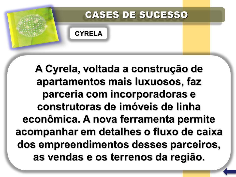 CASES DE SUCESSO CYRELA A Cyrela, voltada a construção de apartamentos mais luxuosos, faz parceria com incorporadoras e construtoras de imóveis de linha econômica.