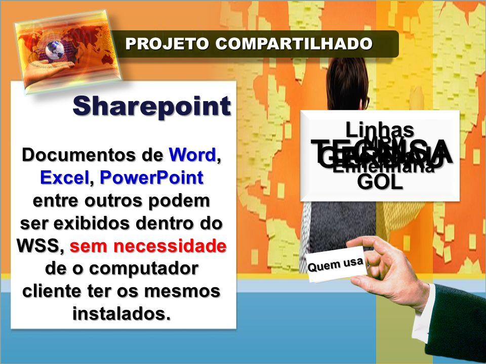 PROJETO COMPARTILHADO PROJETO COMPARTILHADO Sharepoint O Windows Sharepoint Services é uma plataforma de colaboração voltada para aplicações intranet