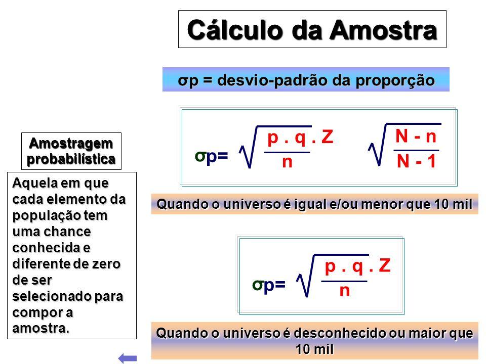 Cálculo da Amostra Cálculo da Amostra Amostragem probabilística Aquela em que cada elemento da população tem uma chance conhecida e diferente de zero