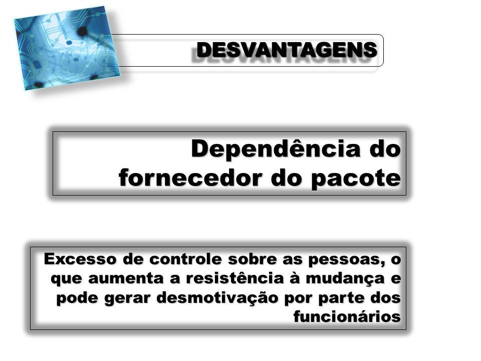 Dependência do fornecedor do pacote Excesso de controle sobre as pessoas, o que aumenta a resistência à mudança e pode gerar desmotivação por parte do