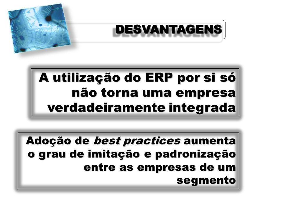 A utilização do ERP por si só não torna uma empresa verdadeiramente integrada Adoção de best practices aumenta o grau de imitação e padronização entre
