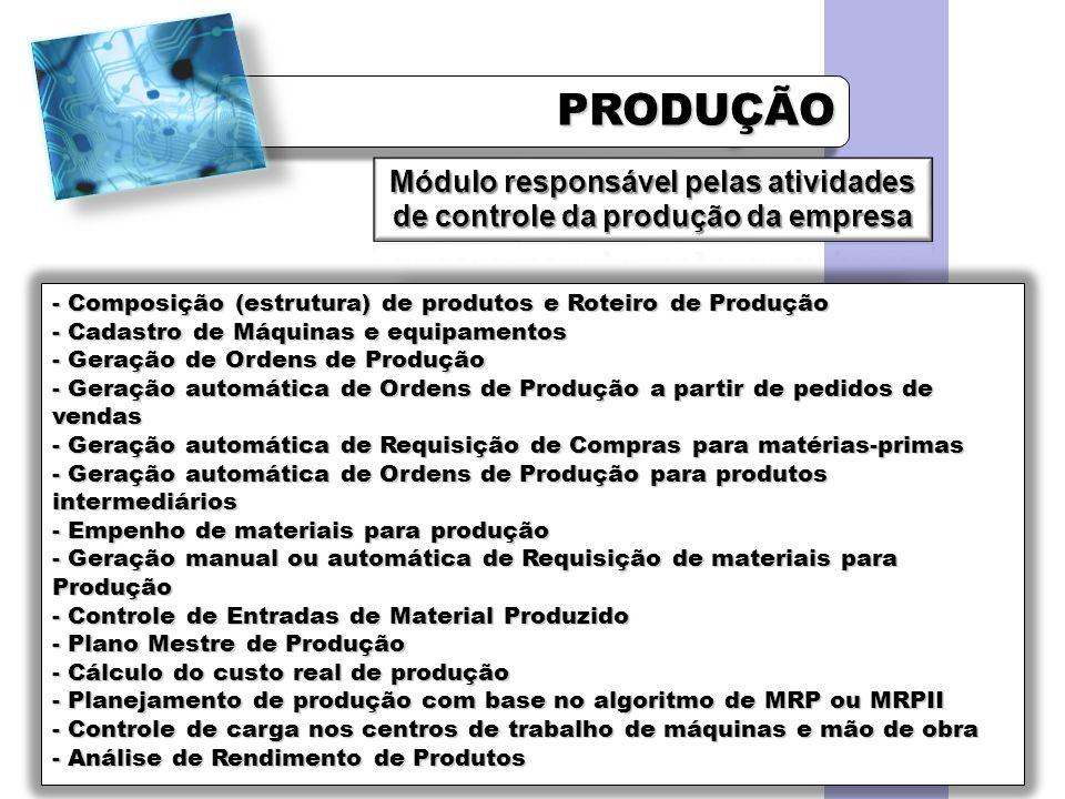 PRODUÇÃOPRODUÇÃO - Composição (estrutura) de produtos e Roteiro de Produção - Cadastro de Máquinas e equipamentos - Geração de Ordens de Produção - Ge