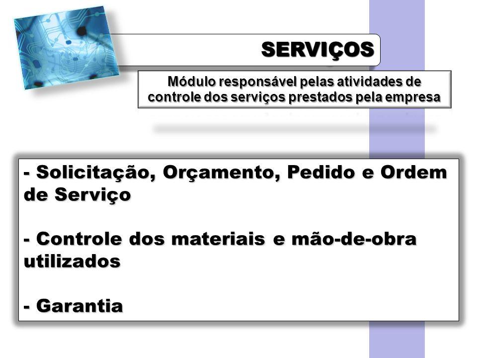 SERVIÇOSSERVIÇOS - Solicitação, Orçamento, Pedido e Ordem de Serviço - Controle dos materiais e mão-de-obra utilizados - Garantia