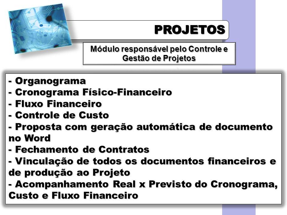 PROJETOSPROJETOS - Organograma - Cronograma Físico-Financeiro - Fluxo Financeiro - Controle de Custo - Proposta com geração automática de documento no