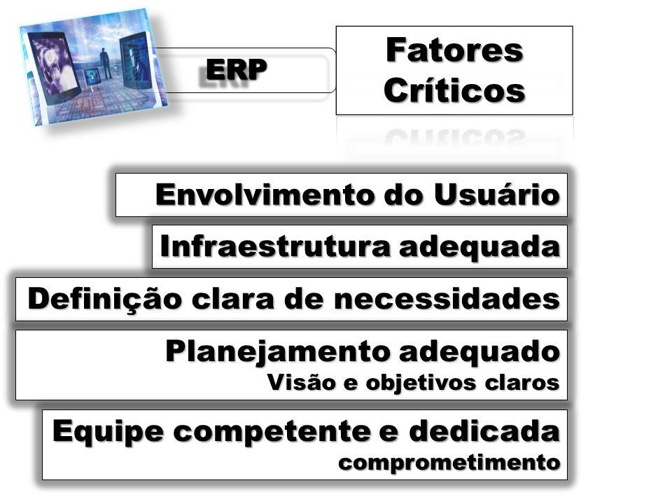 ERPERP Envolvimento do Usuário Infraestrutura adequada Definição clara de necessidades Planejamento adequado Visão e objetivos claros Equipe competent