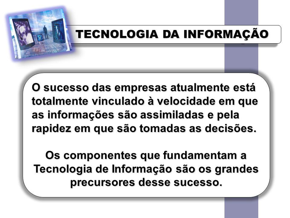 TECNOLOGIA DA INFORMAÇÃO O sucesso das empresas atualmente está totalmente vinculado à velocidade em que as informações são assimiladas e pela rapidez