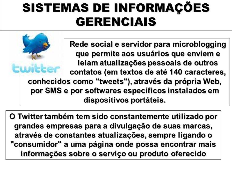 SISTEMAS DE INFORMAÇÕES GERENCIAIS Rede social e servidor para microblogging que permite aos usuários que enviem e leiam atualizações pessoais de outr