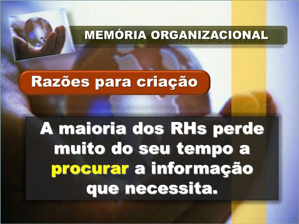 MEMÓRIA ORGANIZACIONAL A maioria dos RHs perde muito do seu tempo a procurar a informação que necessita.