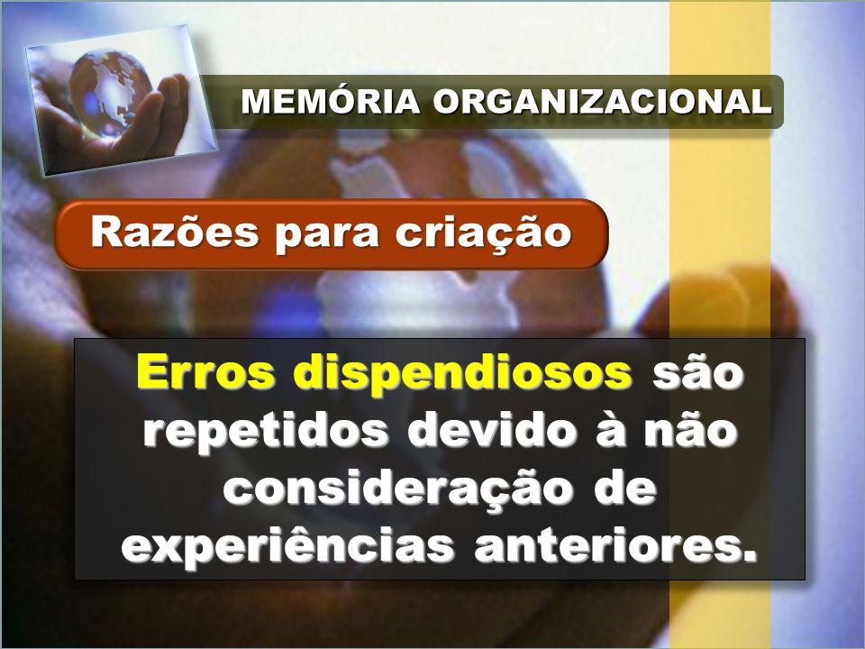 MEMÓRIA ORGANIZACIONAL Erros dispendiosos são repetidos devido à não consideração de experiências anteriores.
