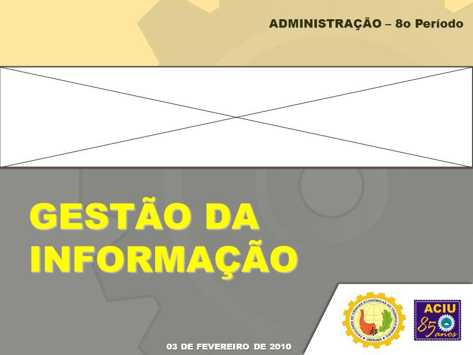 GESTÃO DA INFORMAÇÃO 03 DE FEVEREIRO DE 2010 ADMINISTRAÇÃO – 8o Período