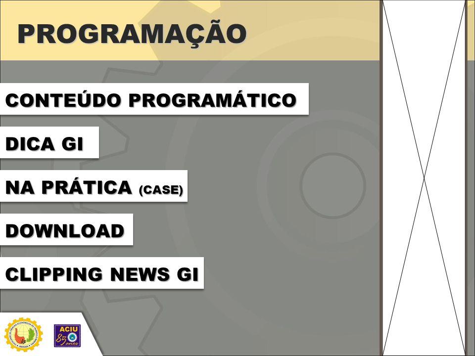 PROGRAMAÇÃO CONTEÚDO PROGRAMÁTICO DICA GI NA PRÁTICA (CASE) DOWNLOAD CLIPPING NEWS GI