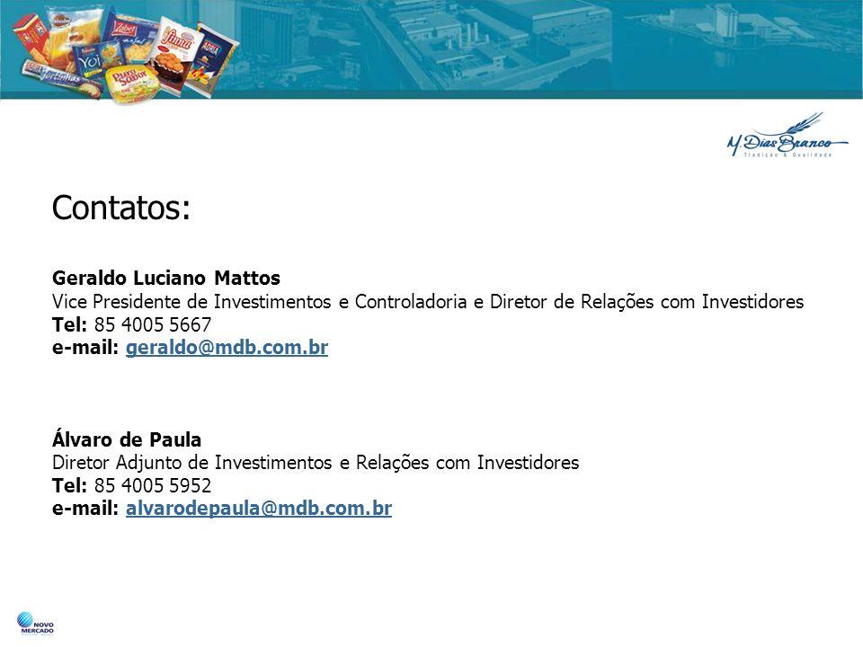 Contatos: Geraldo Luciano Mattos Vice Presidente de Investimentos e Controladoria e Diretor de Relações com Investidores Tel: 85 4005 5667 e-mail: ger
