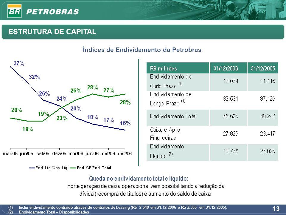 13 (1)Inclui endividamento contraído através de contratos de Leasing (R$ 2.540 em 31.12.2006 e R$ 3.300 em 31.12.2005). (2)Endividamento Total – Dispo