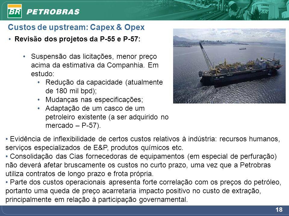 18 Revisão dos projetos da P-55 e P-57: Suspensão das licitações, menor preço acima da estimativa da Companhia. Em estudo: Redução da capacidade (atua