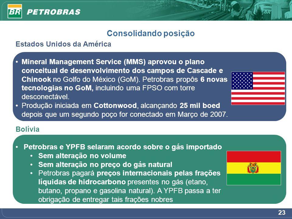 23 Consolidando posição Estados Unidos da América Mineral Management Service (MMS) aprovou o plano conceitual de desenvolvimento dos campos de Cascade