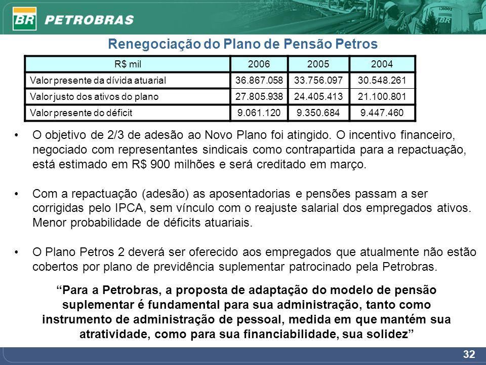 32 Renegociação do Plano de Pensão Petros Para a Petrobras, a proposta de adaptação do modelo de pensão suplementar é fundamental para sua administraç
