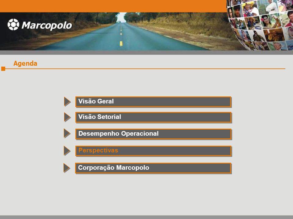 Agenda Visão Geral Visão Setorial Desempenho Operacional Perspectivas Corporação Marcopolo