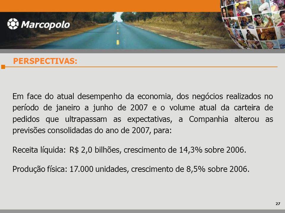PERSPECTIVAS: Em face do atual desempenho da economia, dos negócios realizados no período de janeiro a junho de 2007 e o volume atual da carteira de p
