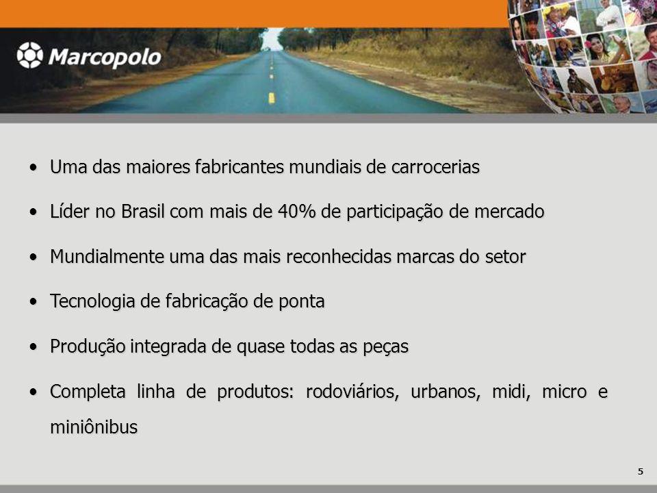 Uma das maiores fabricantes mundiais de carrocerias Uma das maiores fabricantes mundiais de carrocerias Líder no Brasil com mais de 40% de participaçã