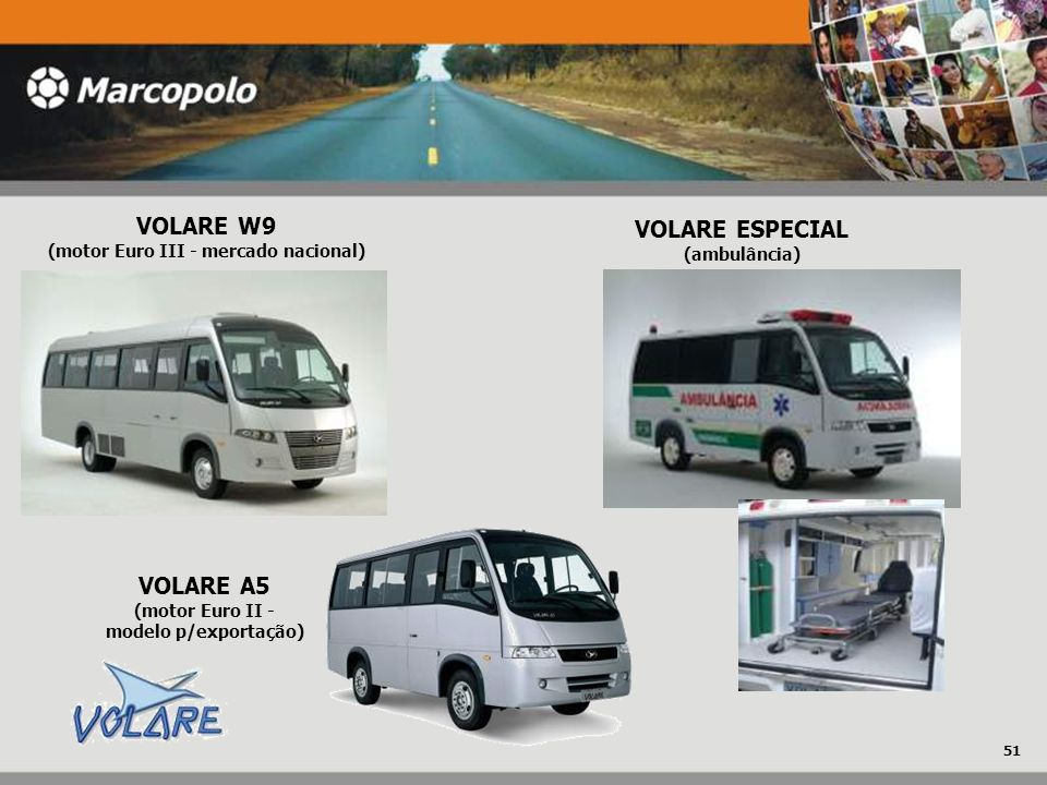 VOLARE W9 (motor Euro III - mercado nacional) VOLARE A5 (motor Euro II - modelo p/exportação) VOLARE ESPECIAL (ambulância) 51