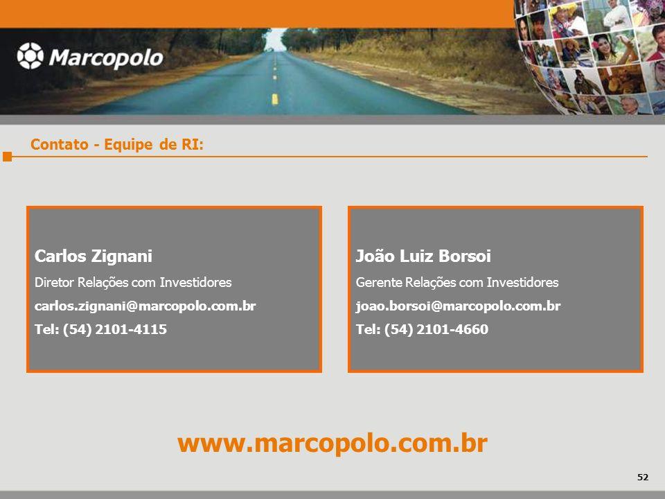 Contato - Equipe de RI: Carlos Zignani Diretor Relações com Investidores carlos.zignani@marcopolo.com.br Tel: (54) 2101-4115 João Luiz Borsoi Gerente