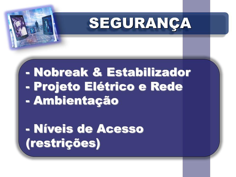 SEGURANÇASEGURANÇA - Nobreak & Estabilizador - Projeto Elétrico e Rede - Ambientação - Níveis de Acesso (restrições)