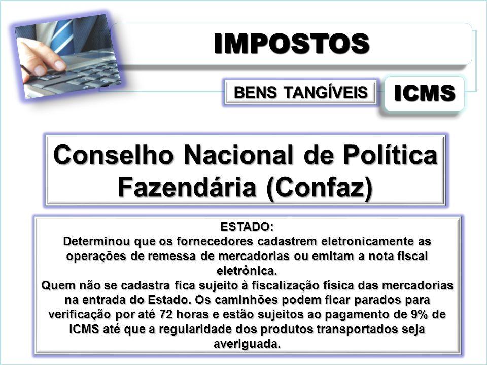 IMPOSTOSIMPOSTOS ICMSICMS Conselho Nacional de Política Fazendária (Confaz) ESTADO: Determinou que os fornecedores cadastrem eletronicamente as operaç