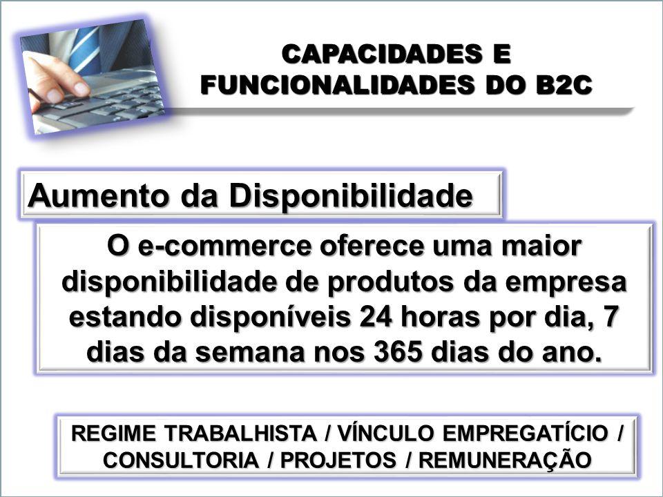 CAPACIDADES E FUNCIONALIDADES DO B2C O e-commerce oferece uma maior disponibilidade de produtos da empresa estando disponíveis 24 horas por dia, 7 dia