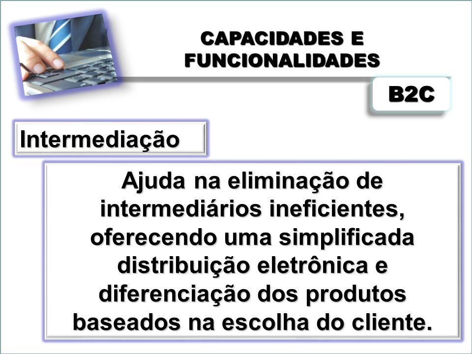 CAPACIDADES E FUNCIONALIDADES Ajuda na eliminação de intermediários ineficientes, oferecendo uma simplificada distribuição eletrônica e diferenciação