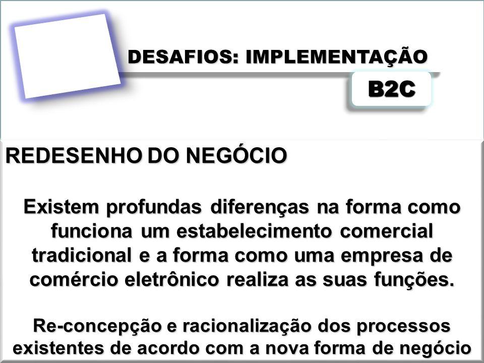 DESAFIOS: IMPLEMENTAÇÃO B2CB2C REDESENHO DO NEGÓCIO Existem profundas diferenças na forma como funciona um estabelecimento comercial tradicional e a f