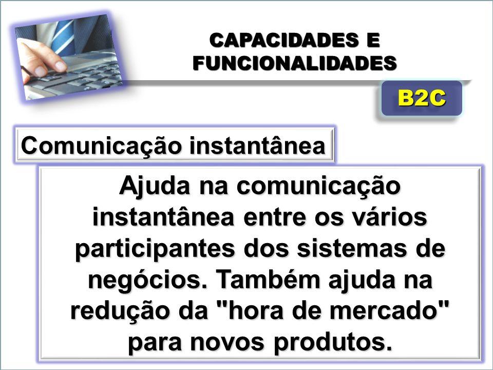 CAPACIDADES E FUNCIONALIDADES Ajuda na comunicação instantânea entre os vários participantes dos sistemas de negócios. Também ajuda na redução da