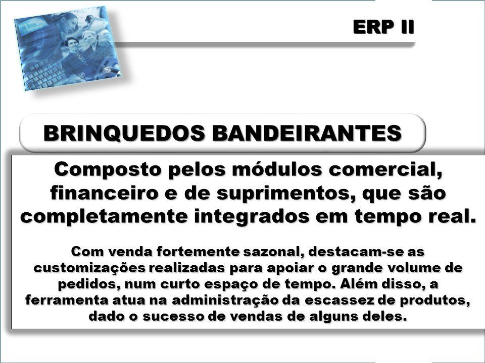 ERP II Composto pelos módulos comercial, financeiro e de suprimentos, que são completamente integrados em tempo real. Com venda fortemente sazonal, de
