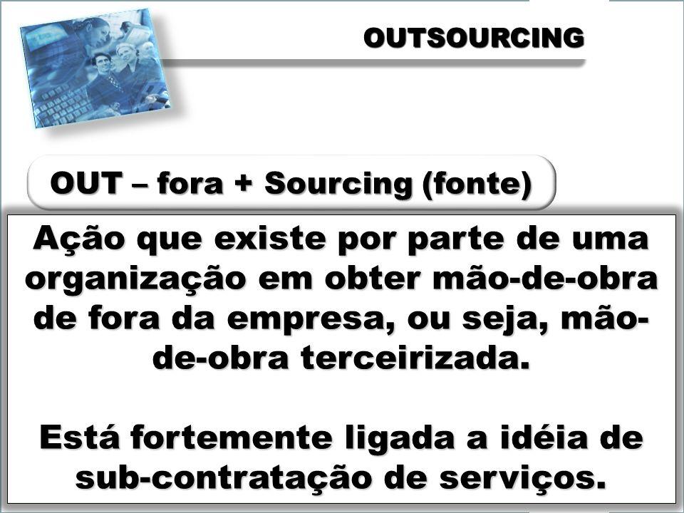 OUTSOURCINGOUTSOURCING Ação que existe por parte de uma organização em obter mão-de-obra de fora da empresa, ou seja, mão- de-obra terceirizada.