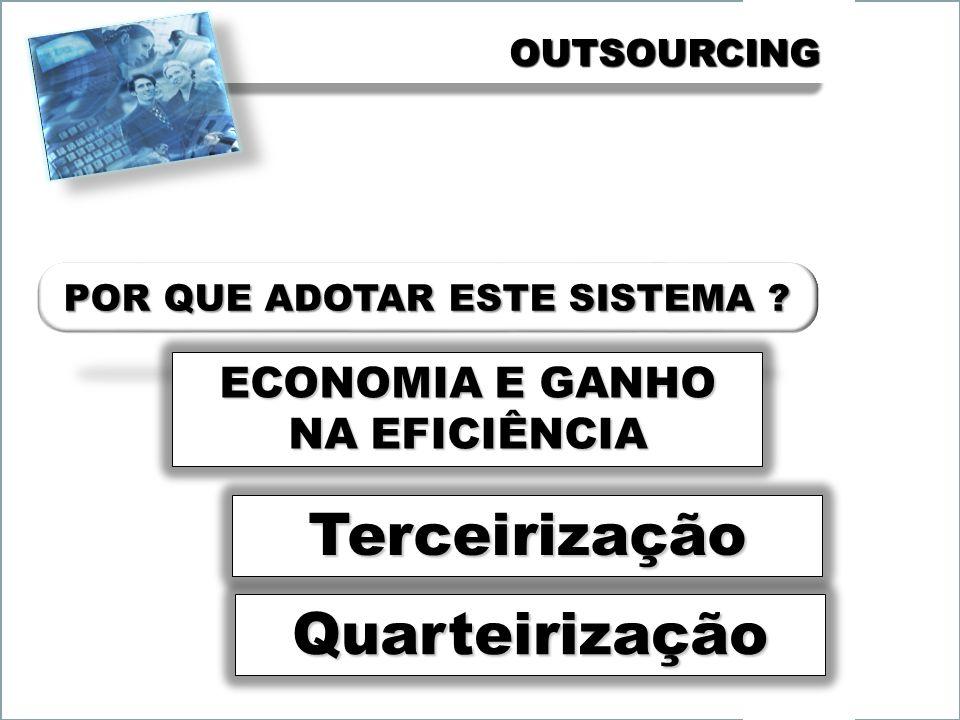 OUTSOURCINGOUTSOURCING ECONOMIA E GANHO NA EFICIÊNCIA Terceirização Quarteirização