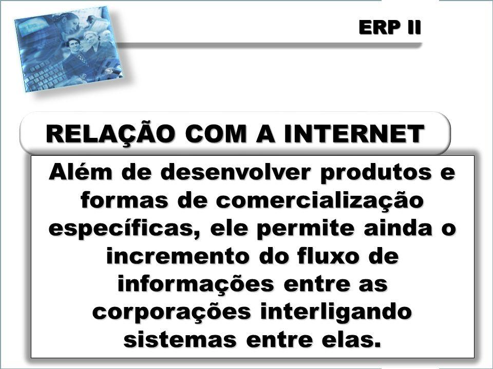ERP II Além de desenvolver produtos e formas de comercialização específicas, ele permite ainda o incremento do fluxo de informações entre as corporações interligando sistemas entre elas.