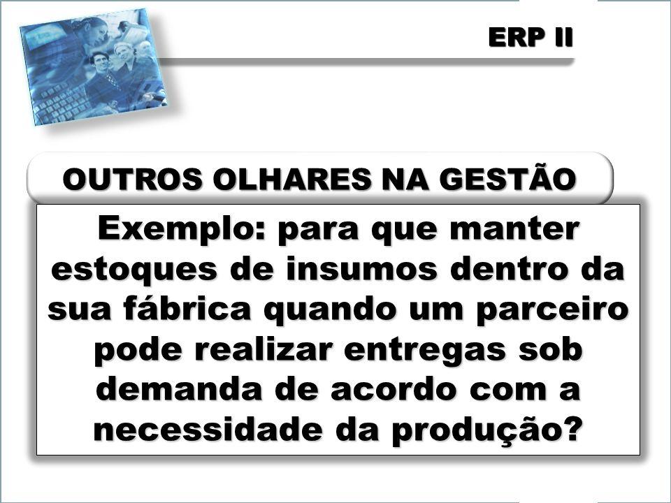 ERP II Exemplo: para que manter estoques de insumos dentro da sua fábrica quando um parceiro pode realizar entregas sob demanda de acordo com a necess