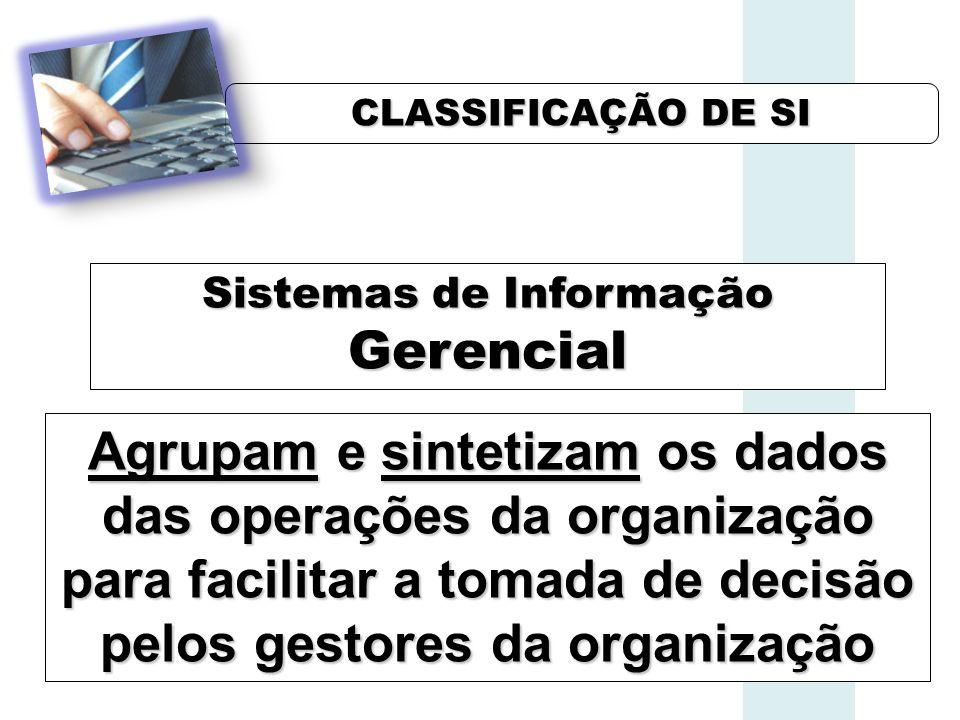 CLASSIFICAÇÃO DE SI Sistemas de Informação Gerencial Agrupam e sintetizam os dados das operações da organização para facilitar a tomada de decisão pelos gestores da organização
