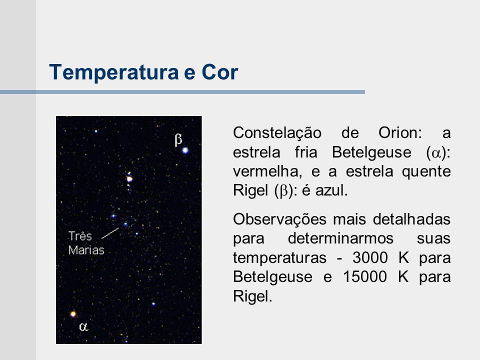 Temperatura e Cor Constelação de Orion: a estrela fria Betelgeuse ( ): vermelha, e a estrela quente Rigel ( ): é azul. Observações mais detalhadas par