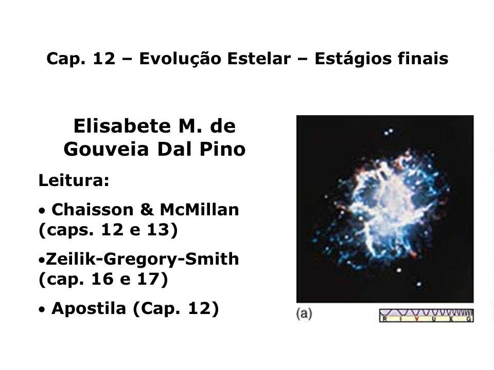 Nebulosas Planetárias e Anãs Brancas Núcleo da supergigante vermelha: não é quente o suficiente (T<6x10 8 K) para continuar fusão nuclear e transformar C em elementos mais pesados.