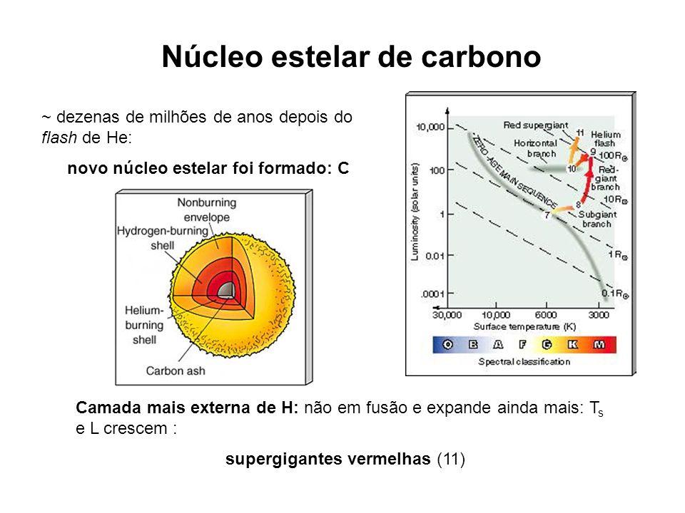 Núcleo estelar de carbono ~ dezenas de milhões de anos depois do flash de He: novo núcleo estelar foi formado: C Camada mais externa de H: não em fusã