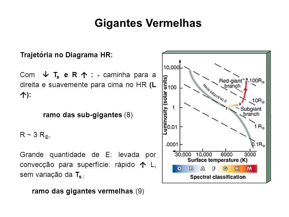Gigantes Vermelhas ~ alguns 100 milhões de anos depois de ter deixado SP: P c 10 8 kg m -3 e T c 10 8 K fusão do He densidade e T tão altos no core que: Física clássica não mais válida Mecânica quântica: enorme quantidade de elétrons livres em estado degenerado: P nkT P deg : sustenta o núcleo estelar contra o colapso gravitacional P deg f(T)
