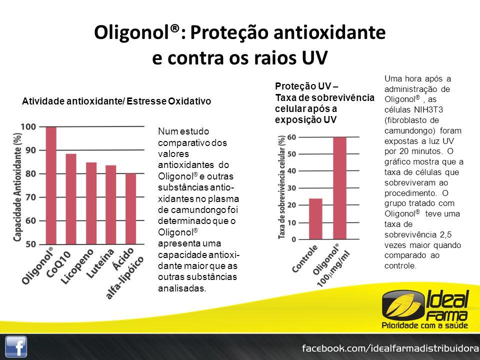 Atividade antioxidante/ Estresse Oxidativo Proteção UV – Taxa de sobrevivência celular após a exposição UV Oligonol®: Proteção antioxidante e contra o