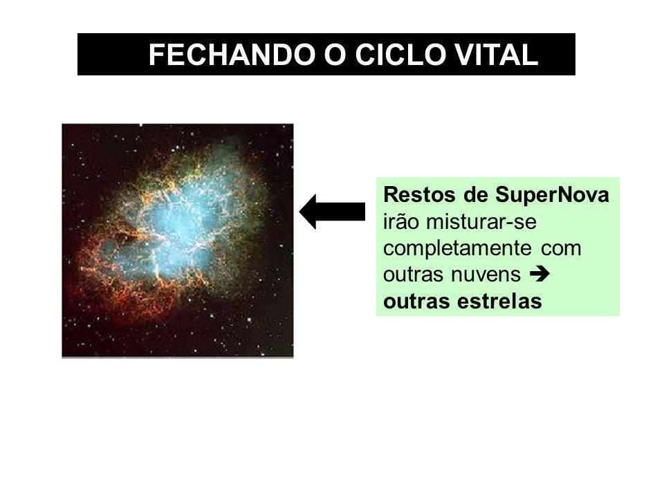 FECHANDO O CICLO VITAL Restos de SuperNova irão misturar-se completamente com outras nuvens outras estrelas
