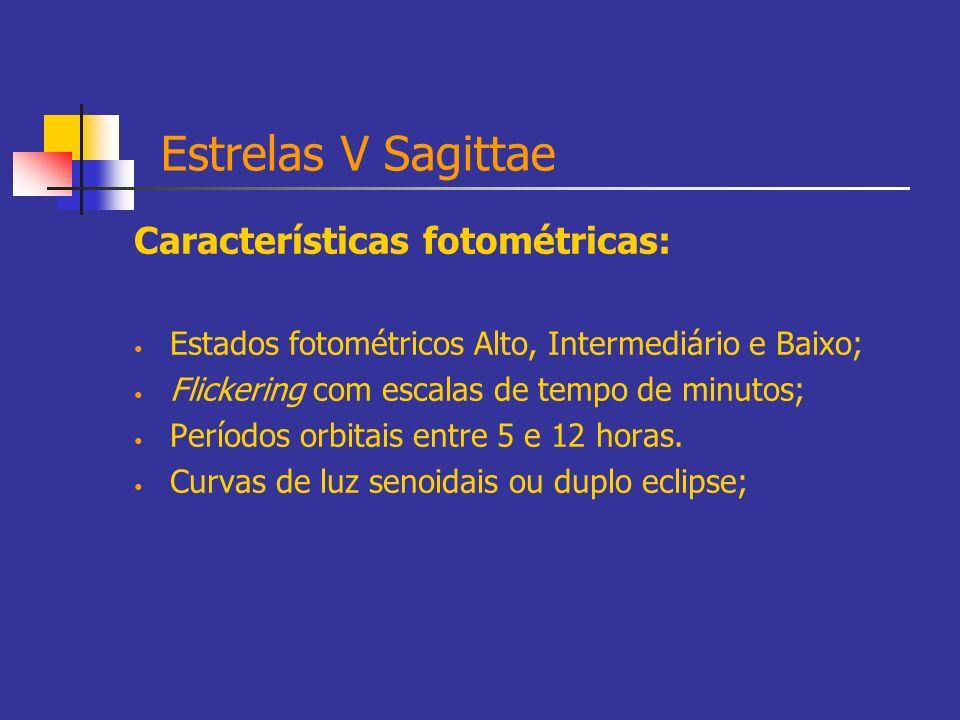 Estrelas V Sagittae Características fotométricas: Estados fotométricos Alto, Intermediário e Baixo; Flickering com escalas de tempo de minutos; Períod