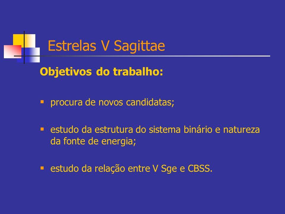 Estrelas V Sagittae Objetivos do trabalho: procura de novos candidatas; estudo da estrutura do sistema binário e natureza da fonte de energia; estudo