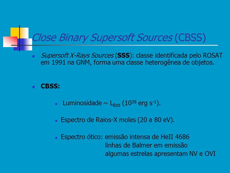 Close Binary Supersoft Sources (CBSS) Supersoft X-Rays Sources (SSS): classe identificada pelo ROSAT em 1991 na GNM, forma uma classe heterogênea de o