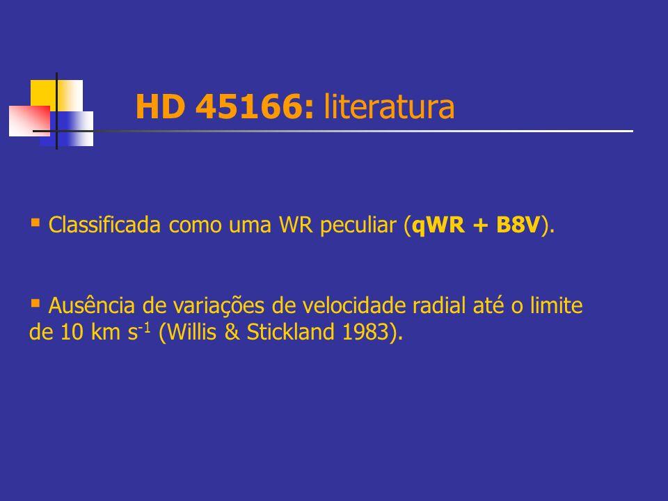 HD 45166: literatura Classificada como uma WR peculiar (qWR + B8V). Ausência de variações de velocidade radial até o limite de 10 km s -1 (Willis & St