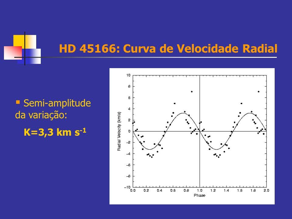 HD 45166: Curva de Velocidade Radial Semi-amplitude da variação: K=3,3 km s -1